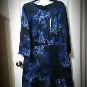 BANANA REPUBLIC Navy Blue Floral Print Flare Dress